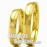 Alianças baratas em ouro para casamento e noivado
