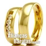 Alianças baratas em ouro casamento e noivado