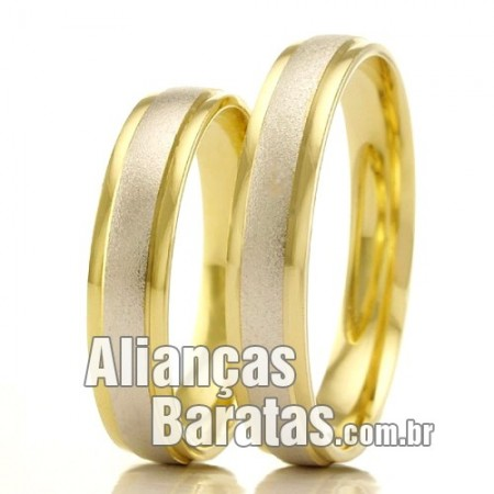 Alianças em ouro branco e amarelo 18k