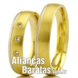 Alianças baratas em ouro 18k branco e amarelo