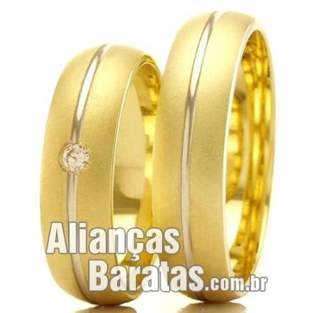 Alianças baratas em ouro 18k amarelo e branco