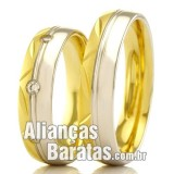 Alianças baratas em ouro amarelo e ouro branco