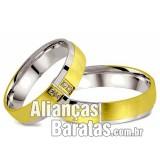 Alianças baratas de noivado e casamento em Ouro 18k e prata