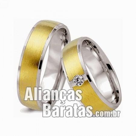Alianças baratas em prata e ouro 6mm