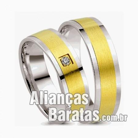 Alianças baratas de noivado casamento ouro 18k e prata
