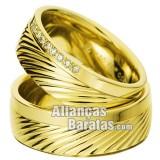Alianças baratas de ouro com diamantes